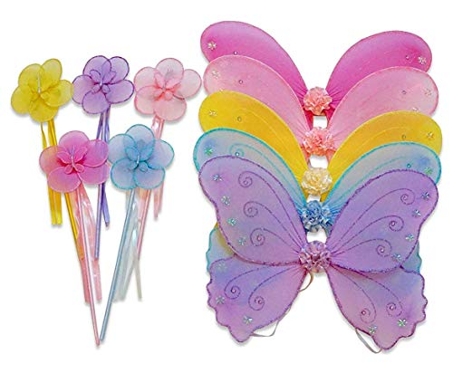 Wander Wings Kids Party Favors Girls Butterfly Angel Fairy Unicorn Wings with Wands (Set of 5) for Garden Parties, Birthday, Costumes Multicolor]()