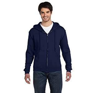 Fruit of the Loom Best Collection™ Men's Fleece Full Zip Hood Small JNAVY/CHARCOAL HEATHER