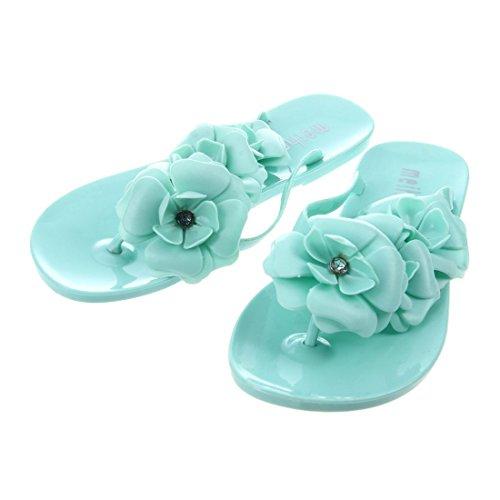 Eur37 5 Jalea r 6 Longitud Para Estilo De Chancletas Verano Mujeres 5cm Toogoo Sandalias Del Nuevas Us 23 Verde Flores Zapatos AqSaxT4