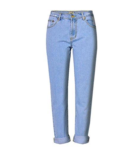 Zhiyuanan Donna Pantaloni chiaro Denim Pantalone Vita Jeans Blu Dritti Strappati Lunga Baggy Alta Leisure rrn6xdw