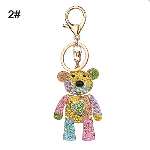 (Bluelans Fashion Colorful Rhinestone Inlaid Bear Key Chain Pendant Keys Organizer Decor Valentine's Day/Mother's Day/Father's Day/Wedding/Anniversary/Party/Graduation/Christmas/Birthday)