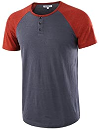Men's Casual Short Sleeve Henley Shirt Raglan Fit Baseball T-Shirts Tee