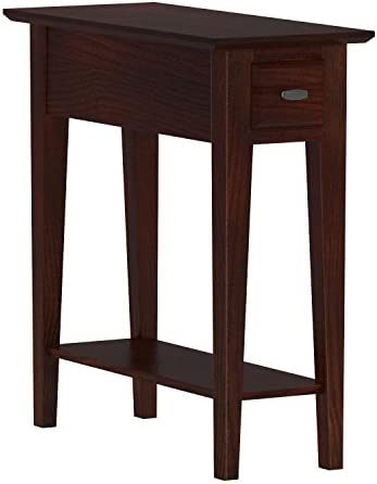 Leick Chairside End Table Narrow Recliner Side Table Solid Wood 10 inch Wide Hand Applied Cherry Finish