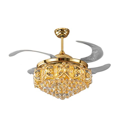 Indoor Ceiling Fans Lights Lamps Zinc Alloy Crystal Ceiling Fan LED Lamp Stealth Nordic Light Ceiling Lights Ceiling Lamp for Foyer Bedroom 9050cm Ceiling Fans Lights Lamps
