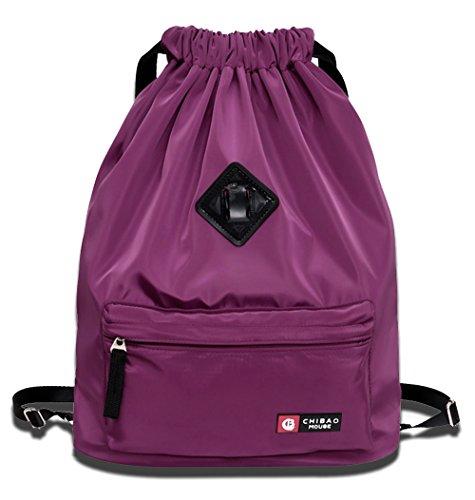 LIZAIDA MENENDEZ Backpack for Men and Women,Waterproof Drawstring Sport Bag,Lightweight Sackpack (Purple)