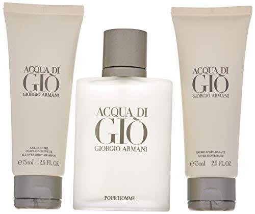 Acqua Di Gio by Giorgio Armani: 3 Pc Gift Set - 1.7oz EDT Spray|1.7oz Shower Gel|1.7oz After Shave Balm for Men ()