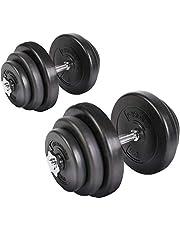 Nova halterset halterstangen 40 kg (2 x 20 kg) verstelbaar, met handvat van ijzer, antislip, halters, fitness, training