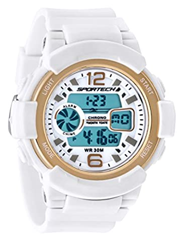 Sportech Unisex SP12005 Multi-Function White and Gold Medium Electronic LCD Sports Watch for an Active Lifestyle: Date, Alarm, Chronograph, Night-Light, Water and Shock (Sport Watches Womens White)