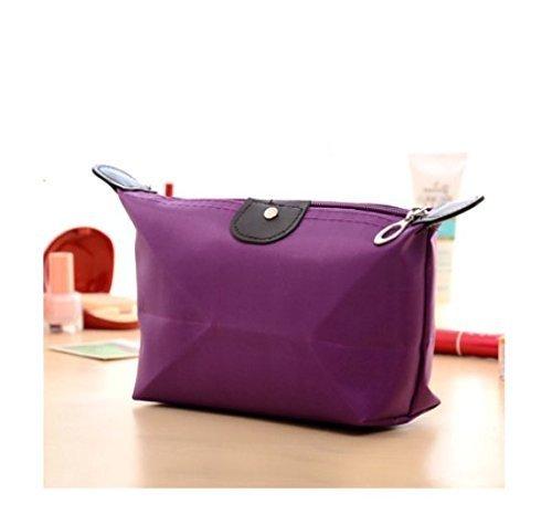 lycia Dumpling Shape Zipper Waterproof Makeup Cosmetic Bag Handbag Storage Bag Pouch (Purple)