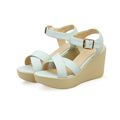 AllhqFashion Women's Open Toe High Heels Buckle Solid Sandals Blue QWTOq