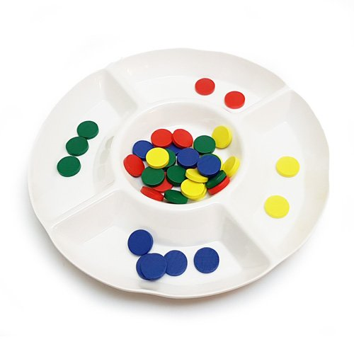 Round 4 Compartment Sorting Tray with Counters. Diameter approx. 10