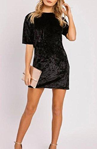 Confortables Manches Courtes Femmes Taille Plus Velours Or Massif Mini Robe Chic, Noir