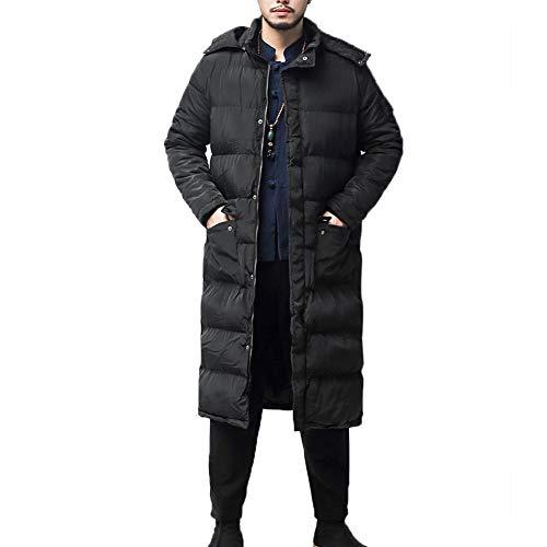 YFFUSHI Men's Hooded Down Jacket Long Coat Thick Winter Zipper Quilted Coat Black (Men Down Jacket Long)