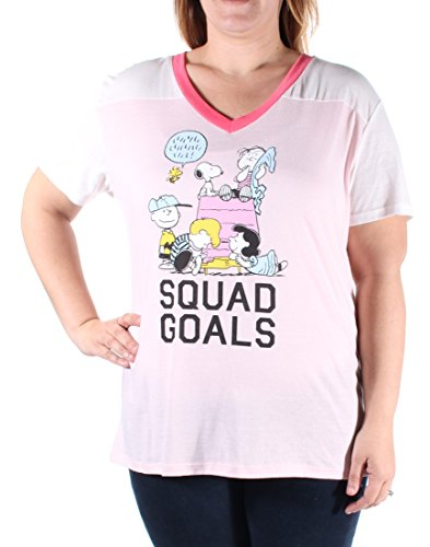 Peanuts Junior's Gang V Neck Tee, Coral/Ivory/Neon Coral, X-Small