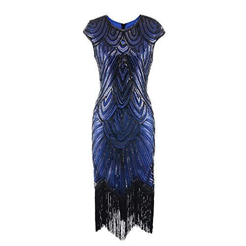Vintage 1920s Great Gatsby Dress Flapper Costume Cap Sleeve Astrid Short Dress Sequin with Tassel Halloween Fancy Dress (L, Black Blue)