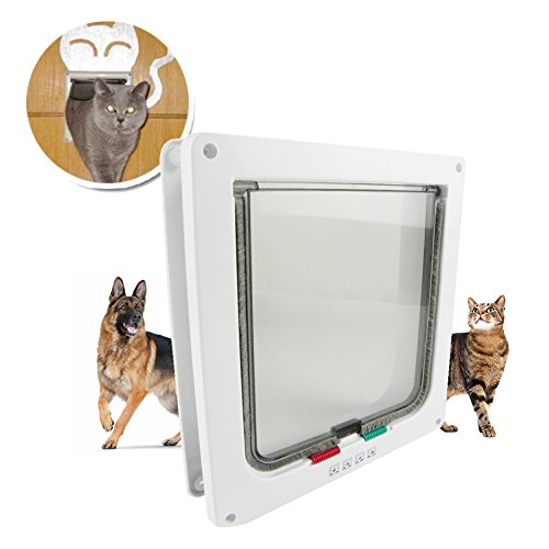 Top Pet Door | 4 Way Locking Cat Door Flap | Durable Safe 9.25 x 9.85 Inches Magnetic Pet Flap | Premium Weatherproof Telescopic Frame for Large Cat and Small Dog | White | 829.2