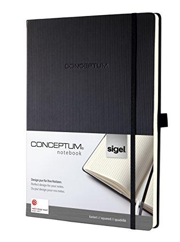 Sigel CO111 Notizbuch ca. A4, kariert, Hardcover, schwarz, CONCEPTUM