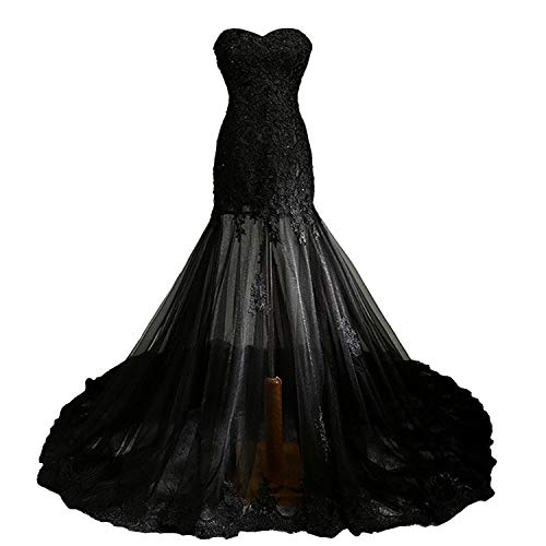 Fair Lady Vintage Gothic Mermaid Beaded Lace Black Wedding Dress for Bride (18, Black)