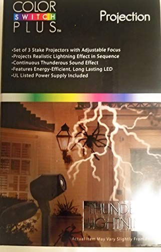 Color Switch Plus Halloween Outdoor Projection Thunder & Lighting Sounds Effects 3 Stake Projectors Themed Halloween -