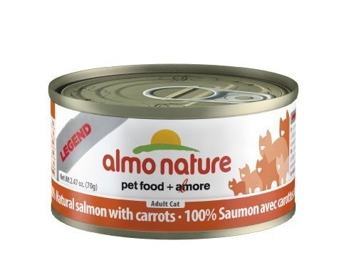 Almo Nature HQS Legend Natural Cat Salmon with Carrots (24 Pack of 2.47 oz/70g cans)