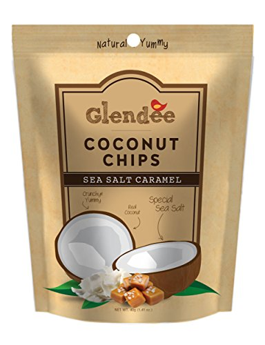 Glendee Toasted Coconut Chips, Caramel Sea Salt, 1.41 Ounce Bags (Fife Plum)