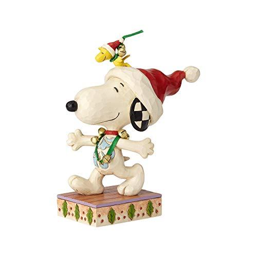 Enesco Peanuts by Jim Shore Snoopy with Jingle Bells Figurine, 6.25