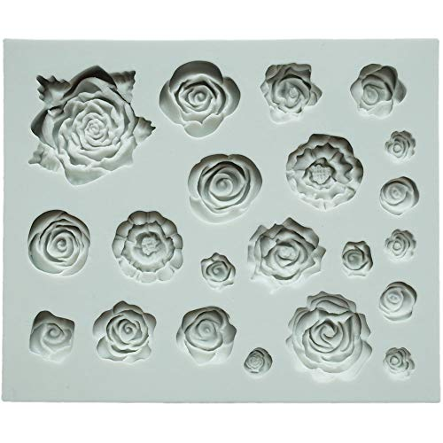 (ScivoKaval 21 Cavity Roses Collection Fondant Candy Silicone Mold for Sugar Craft Cake Decoration Baking Cupcake Topper Chocolate Polymer Clay Soap Wax Making Crafting Projects Rose Flower Mold)