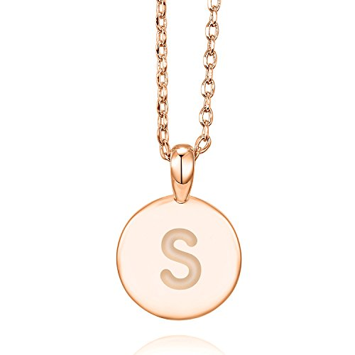 PAVOI 14K Rose Gold Plated S Initial Alphabet Pendant Necklace (Necklace Monogram Jewelry)