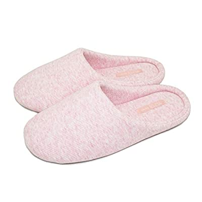 BCTEX COLL Women's Breathable Cozy Organic Cotton Slippers, Knitted Washable House Slipper Comfortable Memory Foam Indoor Slippers with Rubber Sole   Slippers