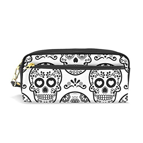 Mexican Sugar Skull White PU Leather Cosmetic Bag Makeup Pouch Pen Pencil Case Coin Purse Travel