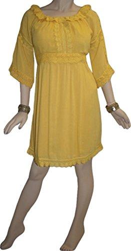 Crape Agan Giallo Estate Vestito Commercianti Bohemien Doll Dr 3902 Medievale Baby Rayon qgwRRn1x