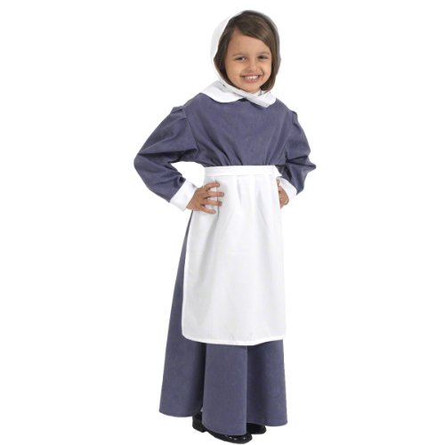 Charlie Crow Florence Nightingale Costume for Kids 7-9 Years. Gray and White]()