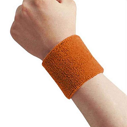 1x Unisex Terry Cloth Cotton Sweatband Sports Wrist Tennis Yoga Sweat WristBand Orange