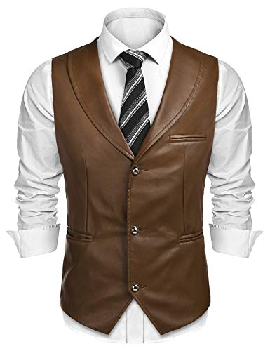 COOFANDY Mens Leather Vest Slim Fit Sleeveless Jacket Casual Lightweight V-Neck Suit Vests Coffee