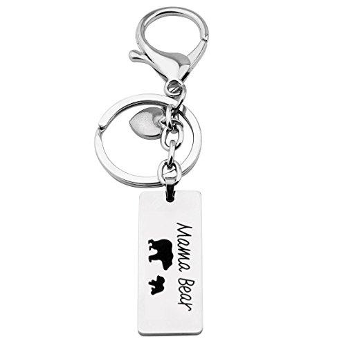 Gzrlyf Mama Bear Keychain with Cub Sweet Bar Dog Tag Keychain Best (1 cub Keychain)