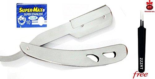 New Men's Professional Straight Edge Sharp Shaving Razor Stainless Steel + Free 10 Supermax Imported Blades & Beauty Tweezers