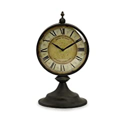 Imax 27478 Christopher Clock - Handcrafted, Antique Table Clock in Timeless Design. Desk and Shelf Clocks