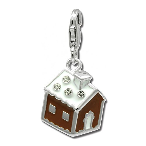 SilberDream Charm brown and white enameled gingerbread house 925 Sterling Silver Pendant FC812N ()