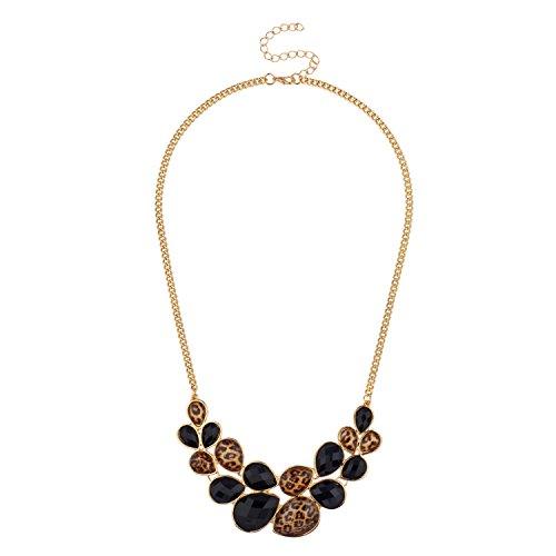 Lux Accessories Faceted Black Leopard Teardrop Stone Statement Bib Chain Necklace