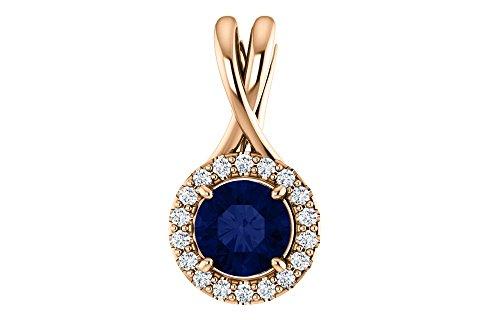 Jewels By Lux 14K Rose Gold Sapphire & 1/10 CTW Diamond Pendant