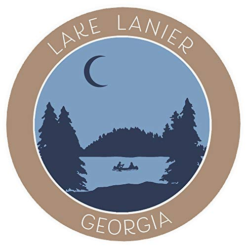 Lake Lanier, Georgia Crescent Moon Boat Vinyl Printed Die-Cut Decorative Auto Decal Sticker ~ Lake Life Adventure Souvenir Vacation Series (Lake Lanier Decal)