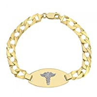 10K Medical Alert Bracelet - Medical Data - Engraving Available - Solid Link - High Polished