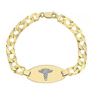 10K Medical Alert Bracelet - Medical Data - Engraving Available - Solid Link - High Polished