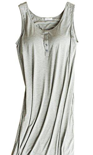 Foxexy Womens Modal Built in Bra Padded Pajama Strap Camisole Long Tank Tops Shirt Sleepwear Dress Grey US XS / Asia Size M (Padded Sleepwear Underwire)