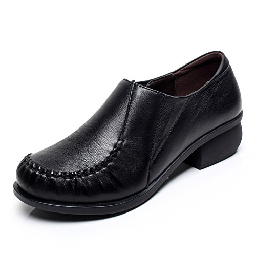 Antideslizantes zapatos A moda zapatos Grueso de redondas zapatos con suaves cuero de gwqaR