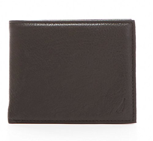 Nautica Mens RFID Data Protection Pebbled Leather Bifold Wallet Passcase (One size, Black) (Nautica Leather Wallet)