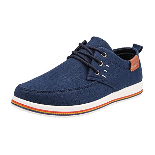 Mens Casual Fashion Sneakers -【MOHOLL】 Men Shoes Outdoor Canvas Casual Shoes Comfortable Flat Sneakers Blue