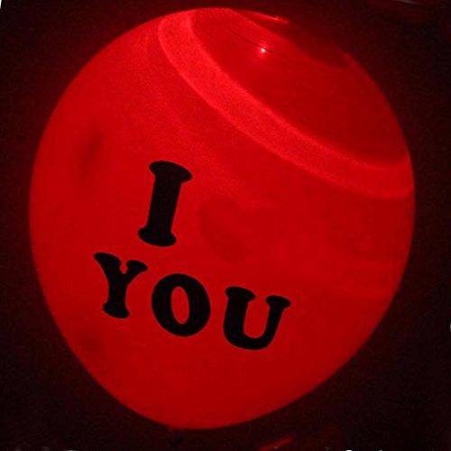 SRQQ 15Pcs LED Balloon Light Ball Luminous Latex Nitrogen Balloons Christmas Halloween Decor Wedding Birthday Party Baloons Supplies red I LOVE -