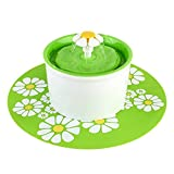 PEDY Flower Fountain Pet Water Fountain, Automatic Electric Drinking Bowl With Filter and Silicone Mat for Dogs Cats and Birds, Green