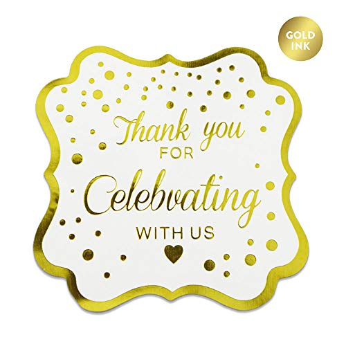 (Thank You For Celebrating With Us Stickers,Fancy Frame Rectangular Labels Stickers, Metallic Gold Ink,50-Pack 2 inch)